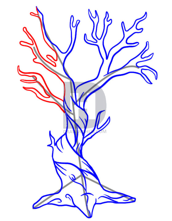 560x720 How To Draw A Dead Tree, Step By Step, Drawing Guide, By