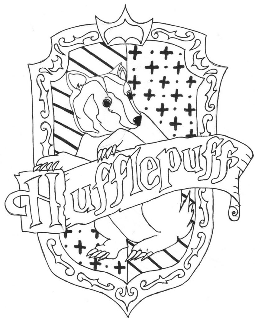 821x1024 Hufflepuff Crest Coloring Page