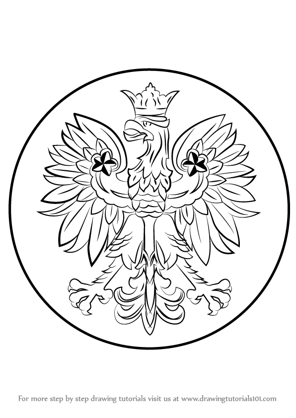 596x842 Learn How To Draw Polish Eagle (Poland) Step By Step Drawing