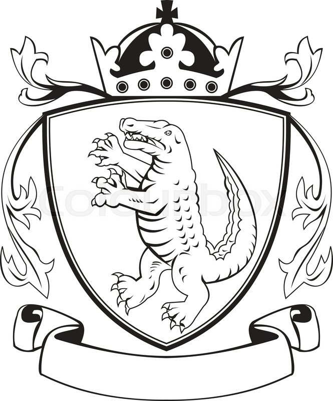665x800 Balck And White Illustration Of Coat Of Arms Of An Angry Alligator