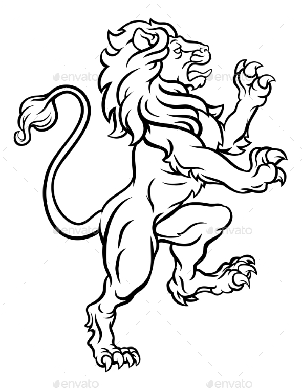 590x762 Lion Standing Rampant Heraldic Crest By Krisdog Graphicriver