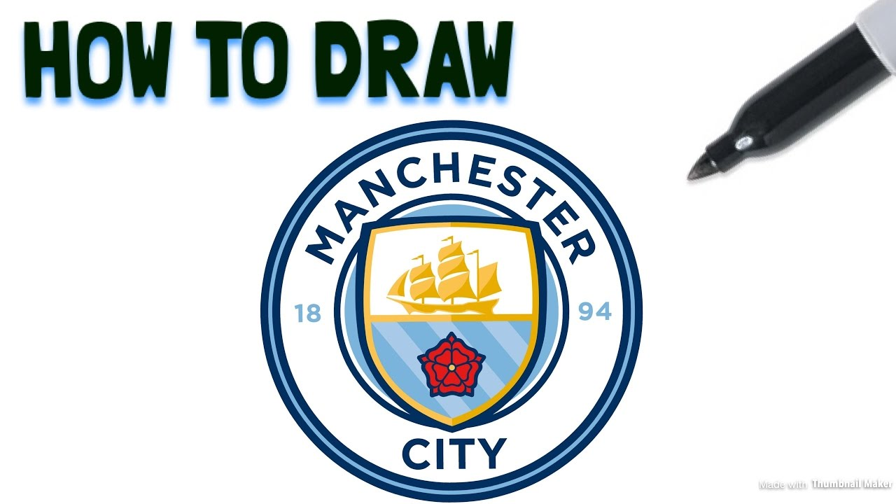 1280x720 How To Draw The Manchester City Fc Crest Drawing Tutorial