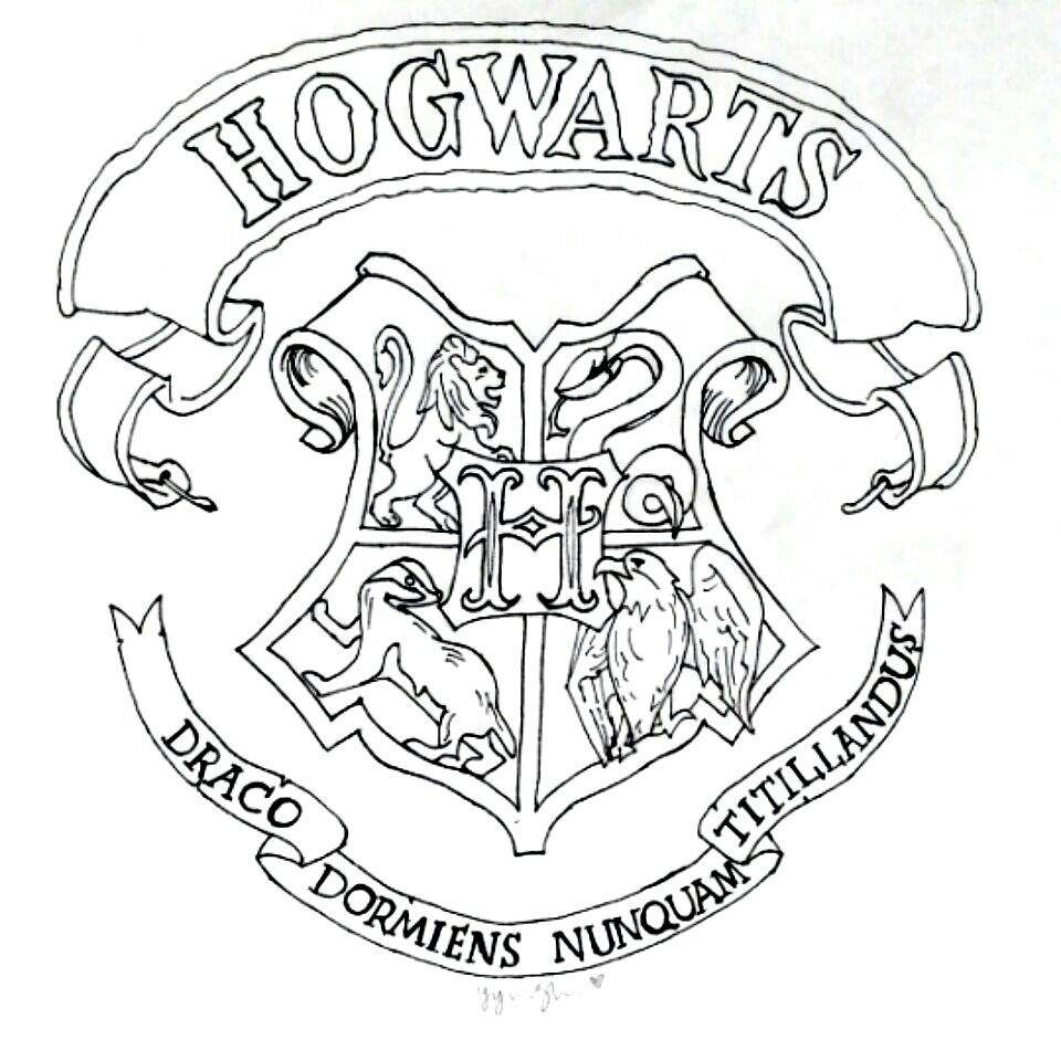 960x960 Harry Potter Coloring Pages Hogwarts Crest Copy Drawing 8