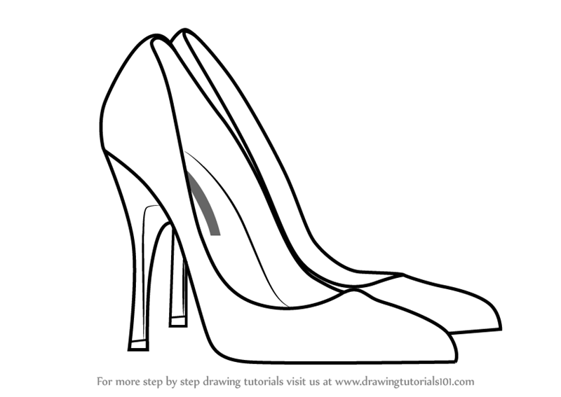 800x567 Learn How To Draw High Heeled Shoe (Fashion) Step By Step