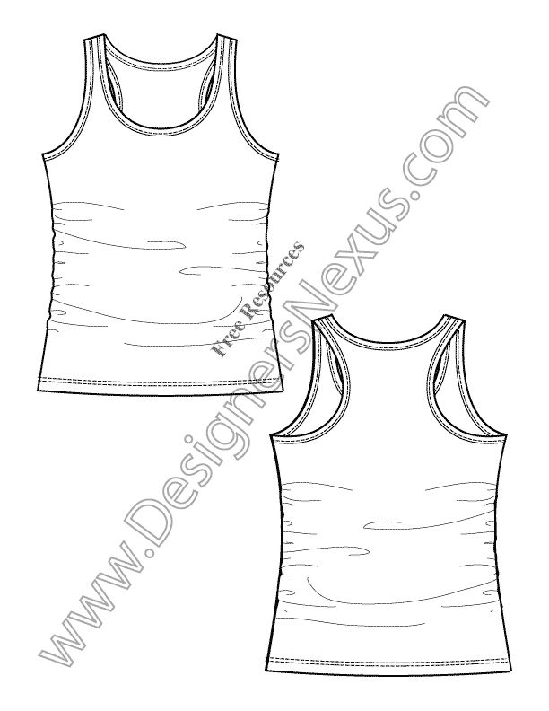 Crop Top Technical Drawing