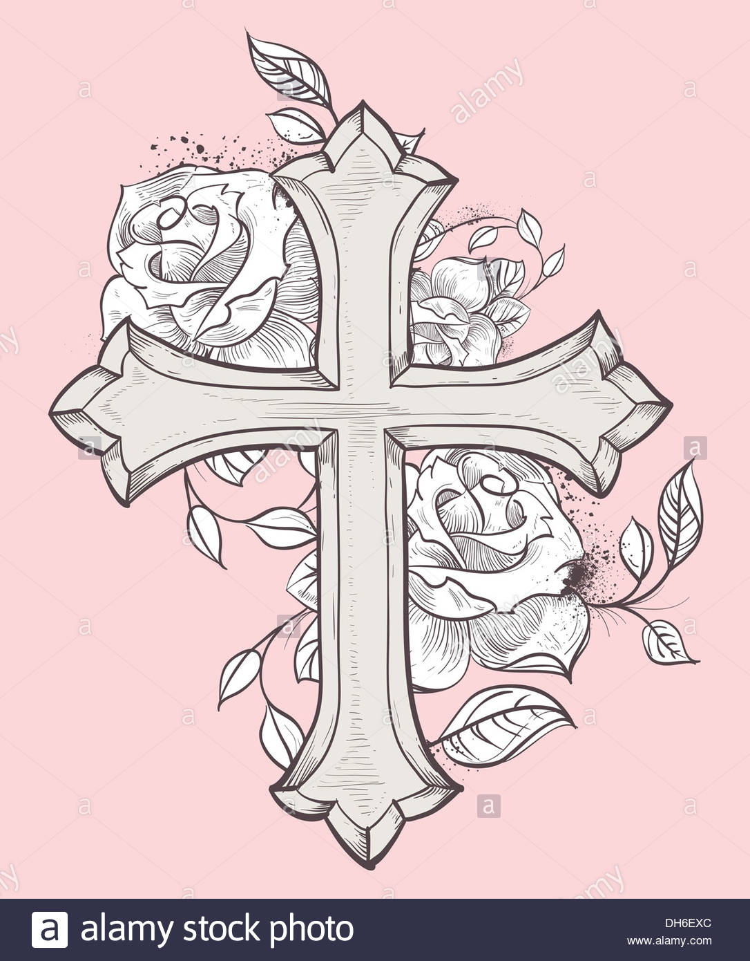 1086x1390 Beautiful Vector Illustration With Hand Drawn Cross And Roses