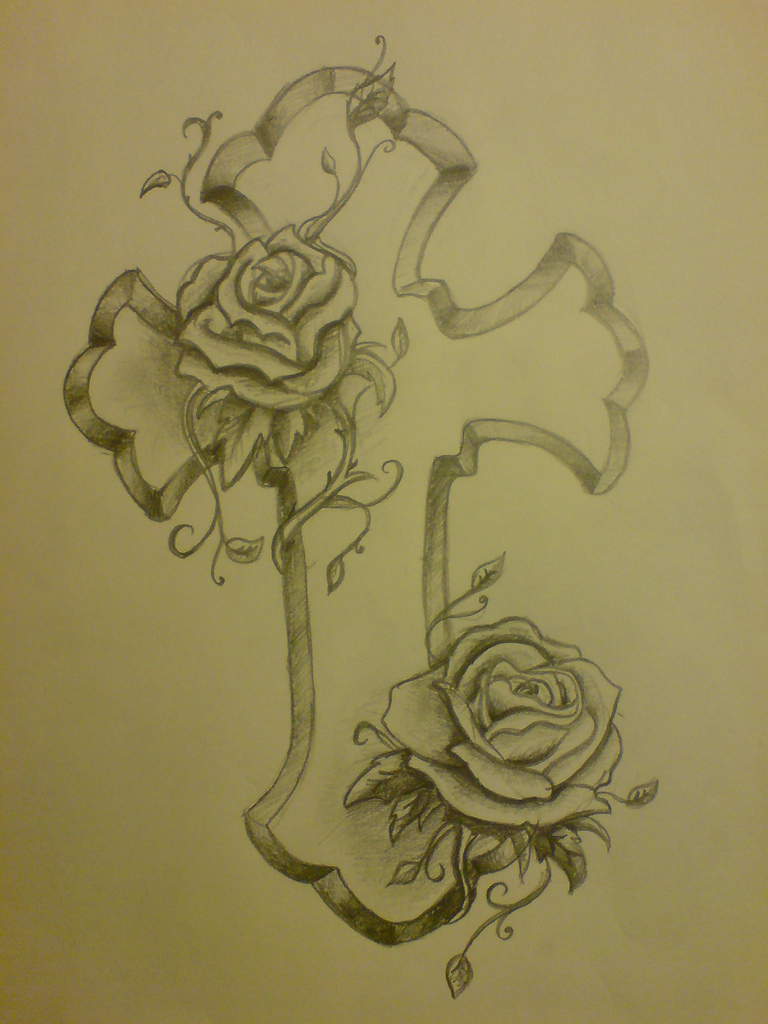 768x1024 Cross And Roses Tattoo Amy Shore