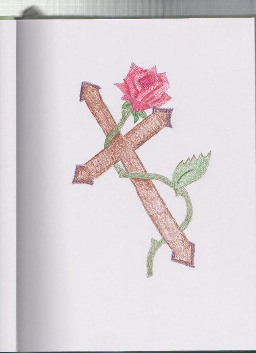 524x720 Rose Cross Drawing By Sarahsedola