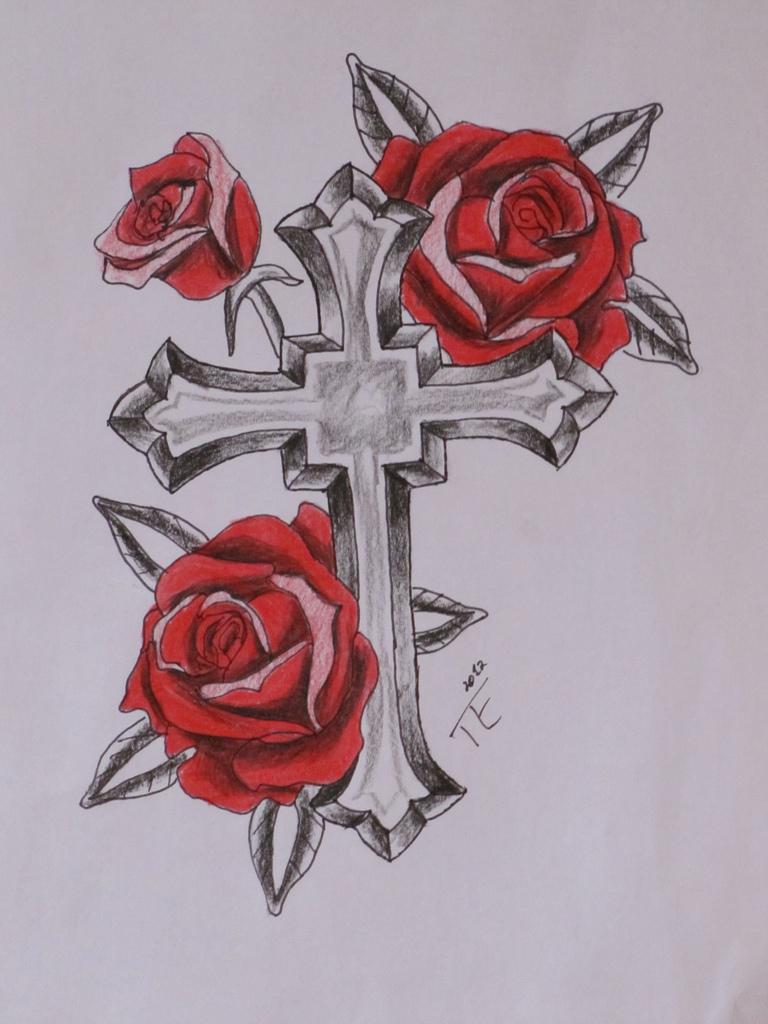 768x1024 Rose Cross Tattoo 5 Eckert Design
