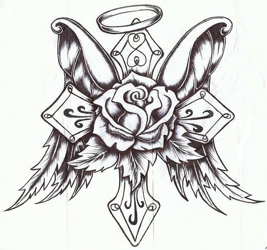 531x497 Cross Rose With Wings By P On @