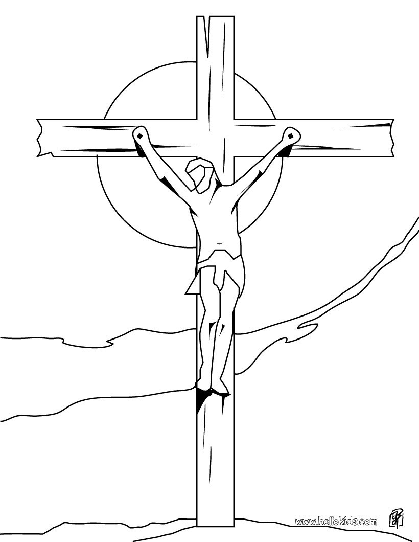 820x1060 Crucifixion Of Jesus Coloring Pages Hellokids Com Tearing