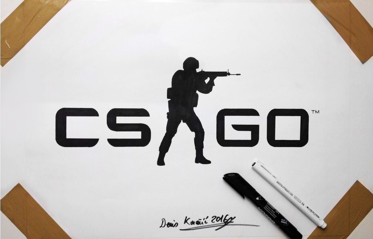 1202x770 Cs Go Logo Drawing