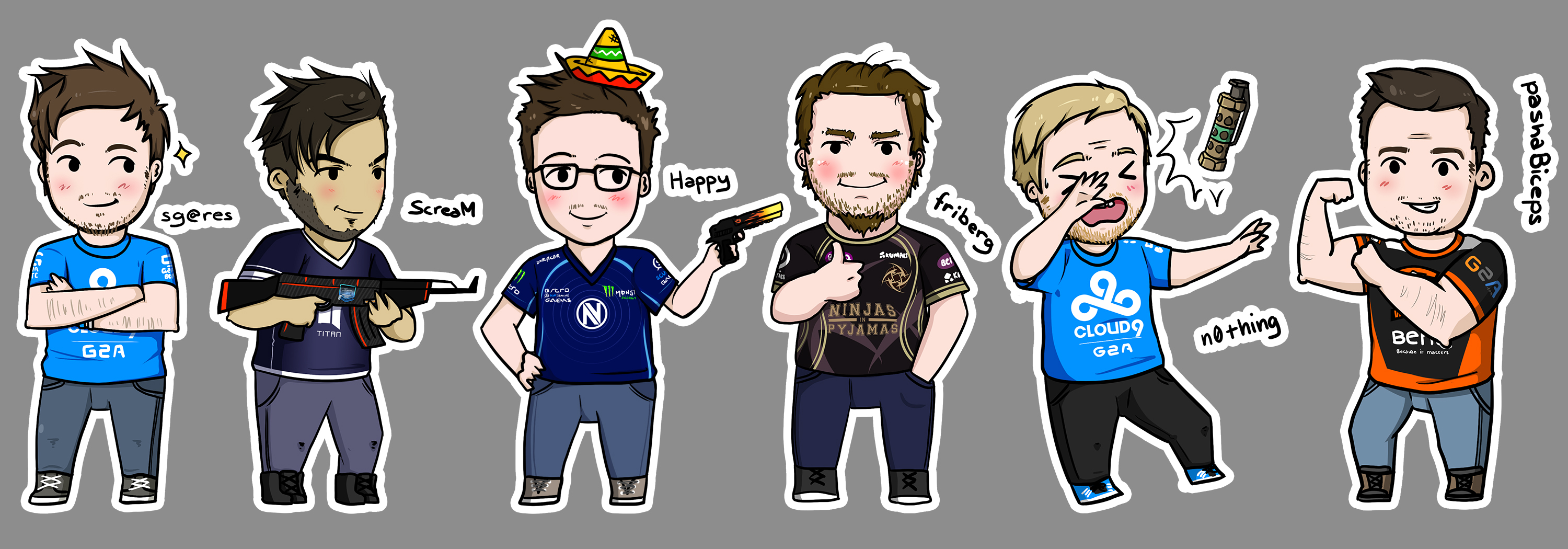 3000x1050 Some Csgo Player Drawings I'Ve Been Doing! )