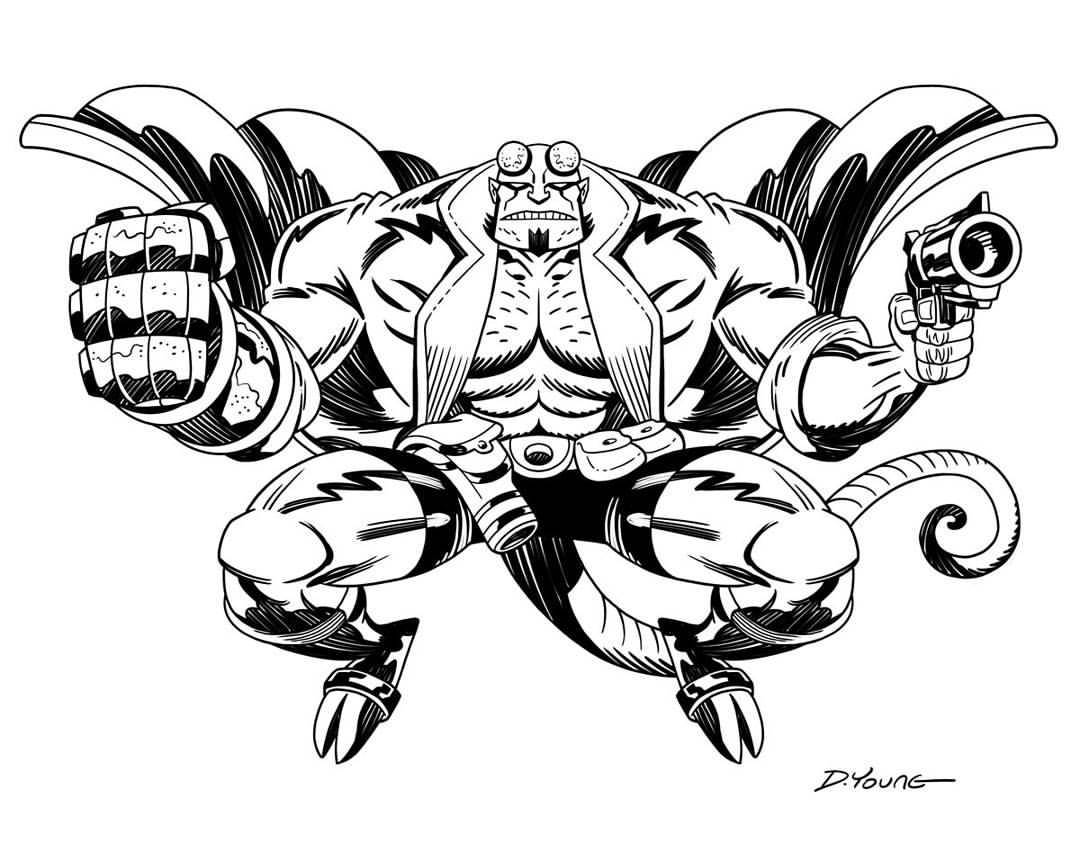 1080x862 Darryl Young Design Hellboy Black And White
