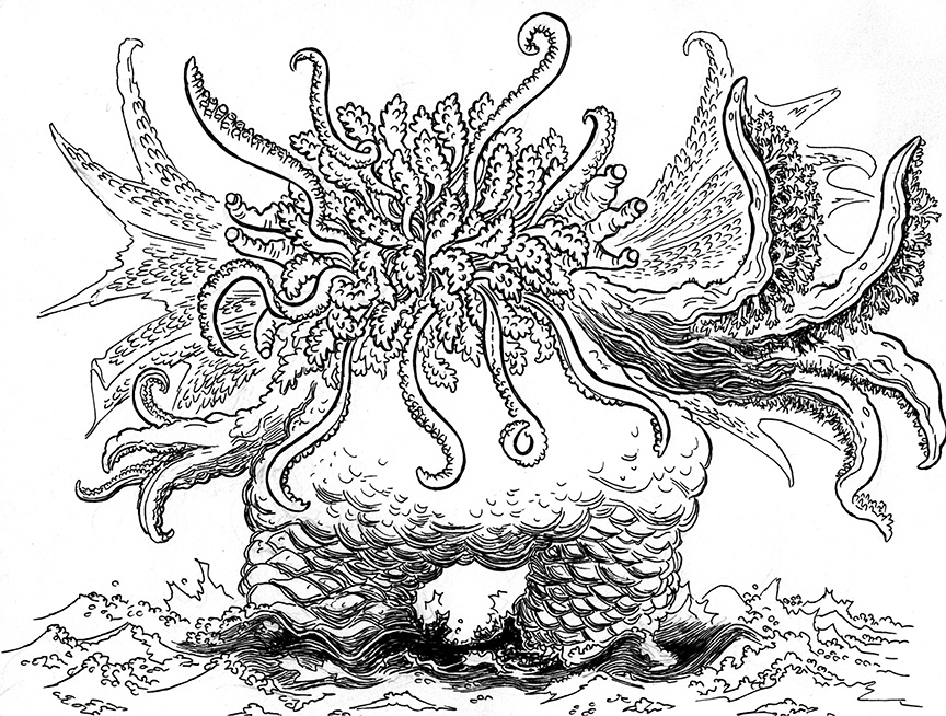 864x654 Lovecraft Sketch Cthulhu