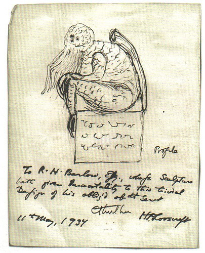 405x500 Cthulhu, Drawn By H.p. Lovecraft Himself Lovecraft Ezine