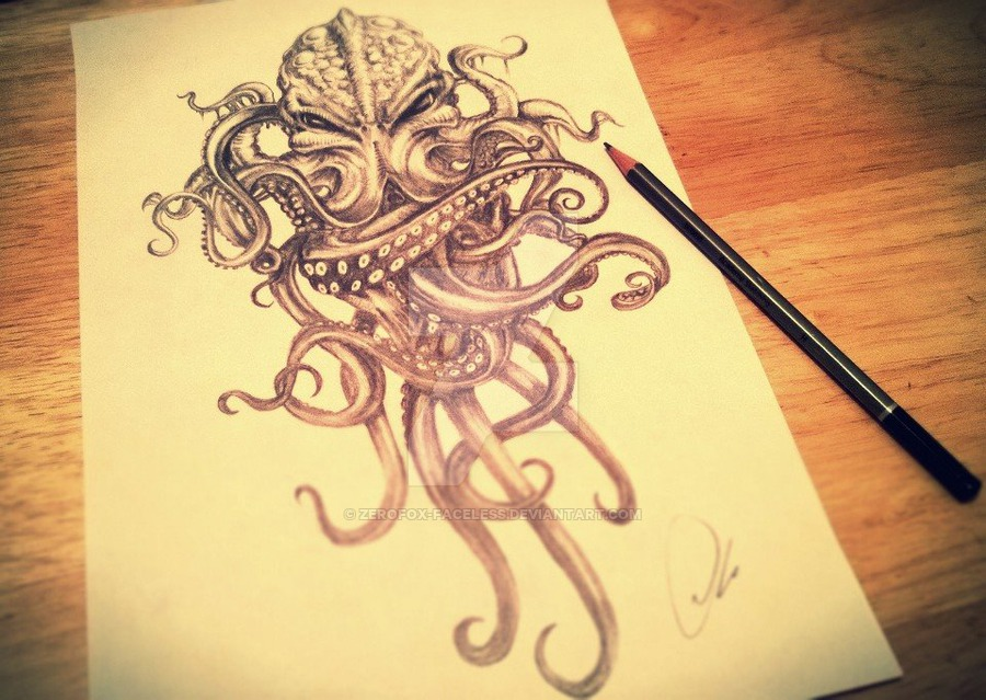 900x639 Cthulhu Drawing By Zerofoxfaceless