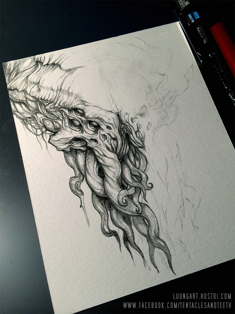 750x1000 Cthulhu Wip Drawing By Tentaclesandteeth