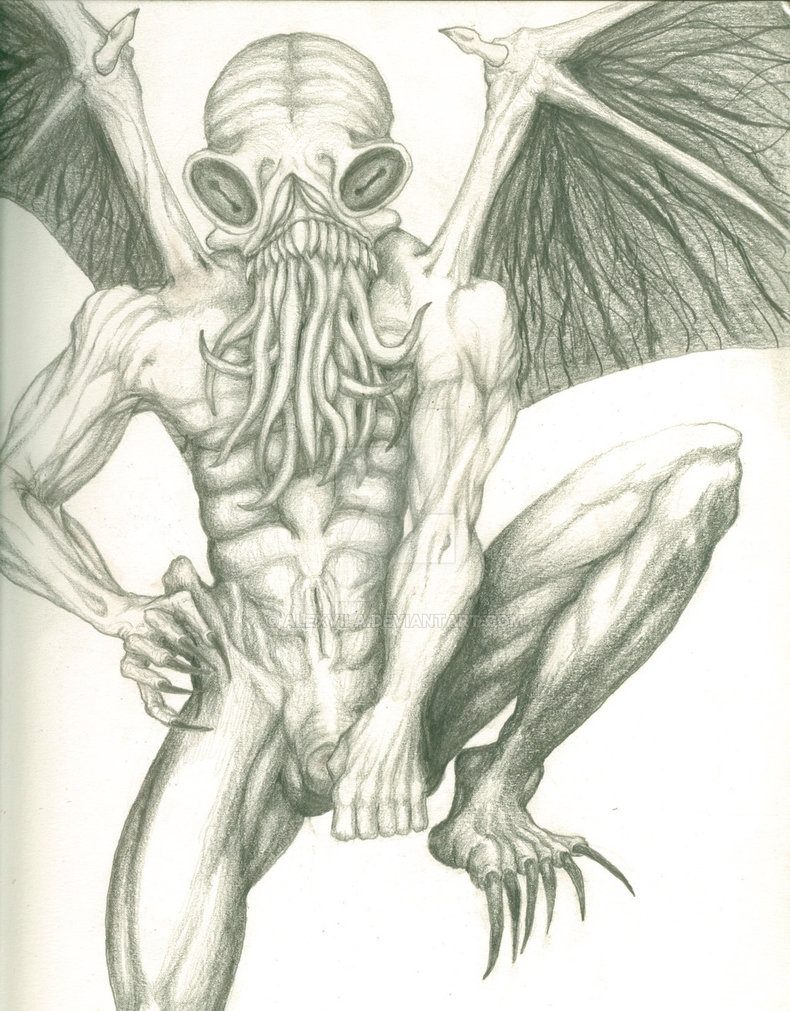 790x1011 Original Cthulhu Drawing By Alexvila
