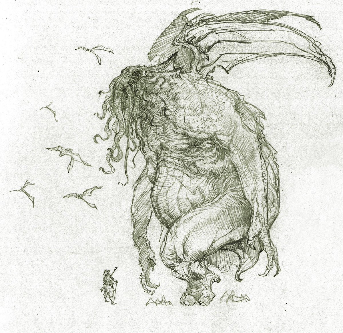 1200x1167 Richard Whitters On Twitter Ok, Last Cthulhu Sketch And Last