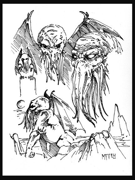 432x576 Cthulhu Concept Sketch, Original Artwork By Alex Mcvey For Sale