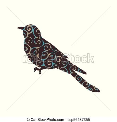 450x470 Cuckoo Bird Spiral Pattern Color Silhouette Animal. Vector