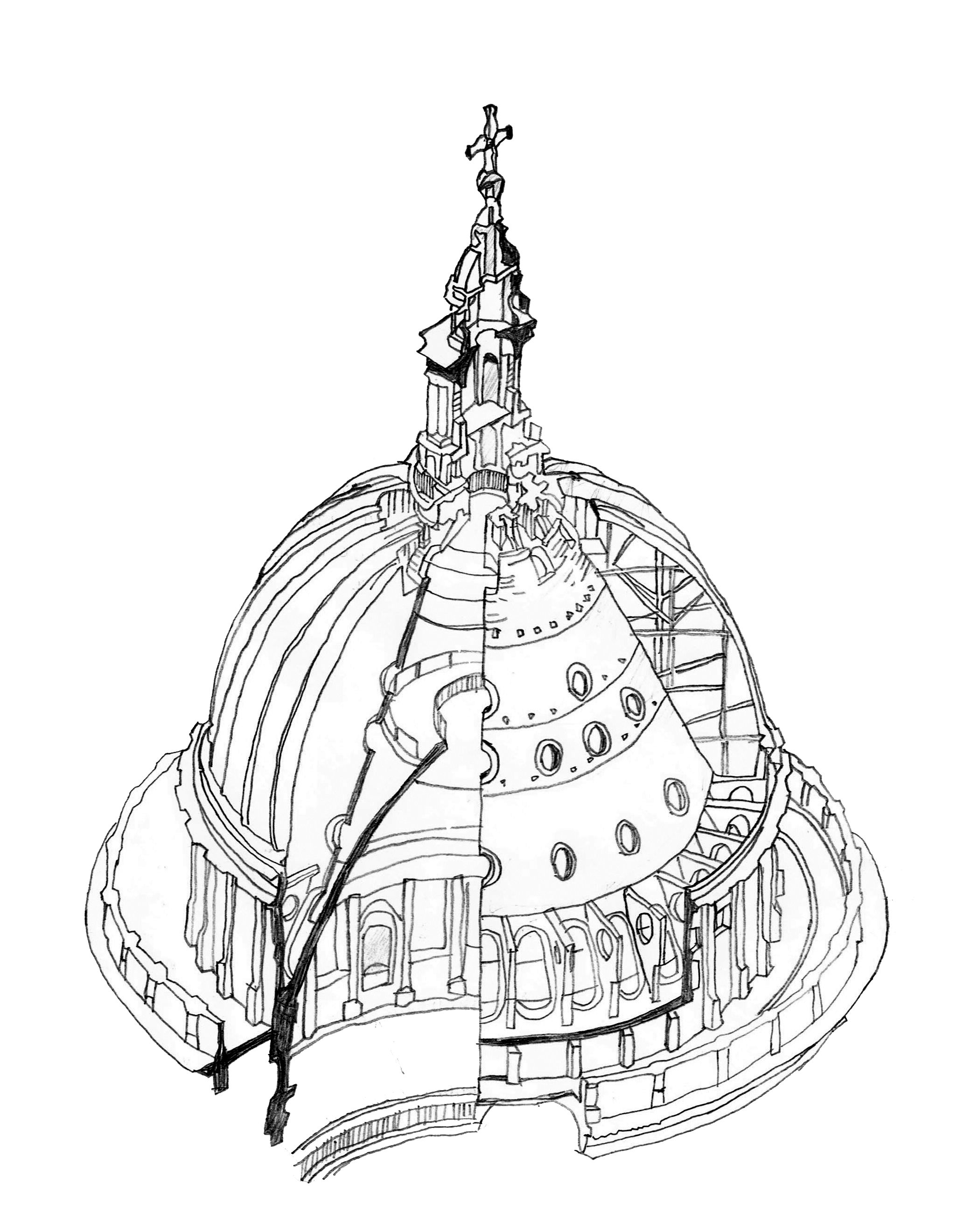 Cupola Drawing At Free For Personal Use Schematic 2083x2643 Site Sectional Study Of St Pauls Cathedral Drawn From Several