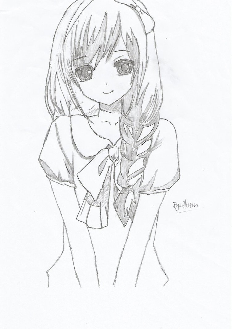 752x1063 Easy To Draw Anime Girl Simple Anime Girl Drawing Easy Cute Anime