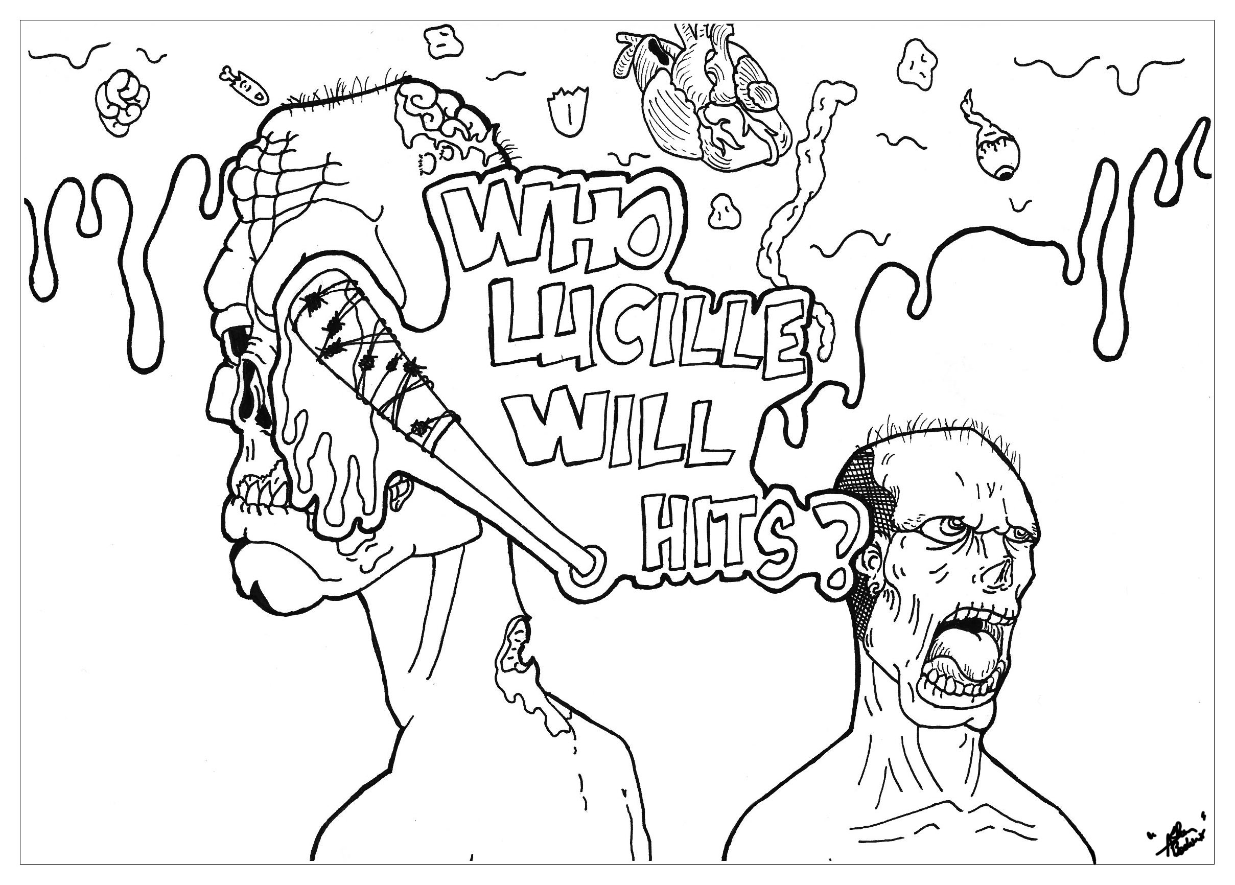 2417x1732 Suddenly Walking Dead Zombie Coloring Pages Drawing For Kids