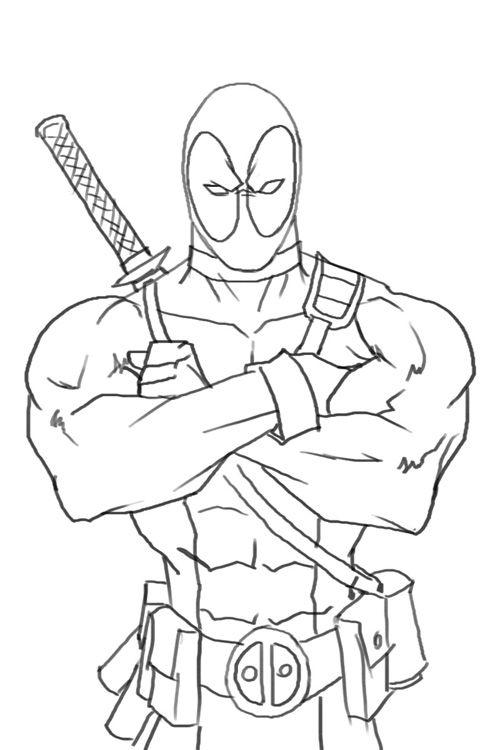 Deadpool Crayon Drawing
