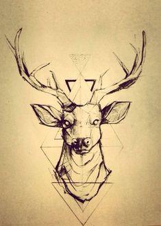 235x330 Light Geometric Stitching Makes Up A Majestic Deer Head. Pretty