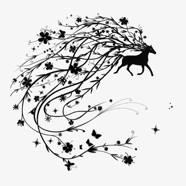 600x600 Black Deer, Fawn, Pencil Drawing, Black Png Image And Clipart