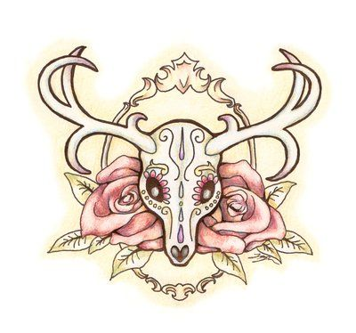400x374 24 Best Deer Skull Tattoo Images On Deer Skull Tattoos