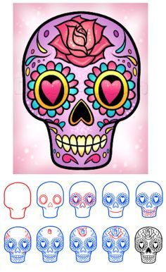 236x386 How To Draw Skull Easy Printable Step By Step Drawing Sheet