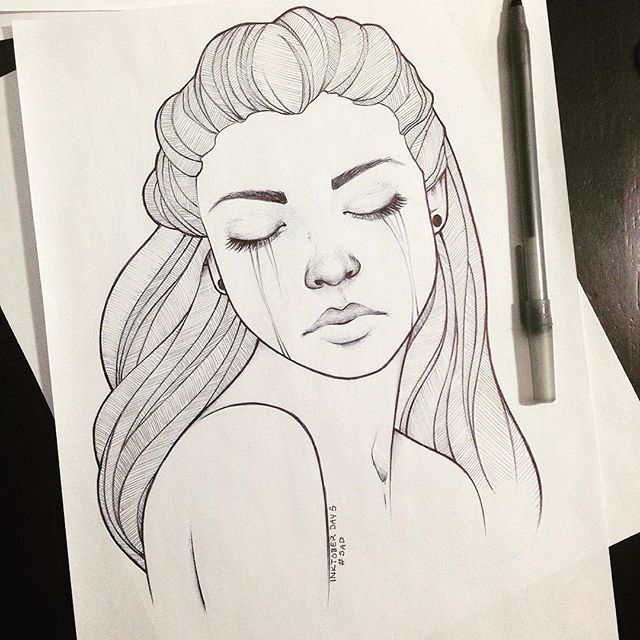 Depressed Girl Crying Drawing Tumblr At Getdrawings Com Free For