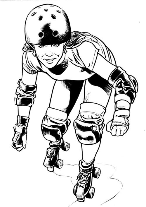 500x707 Derby Illustration. Drawings Roller Derby
