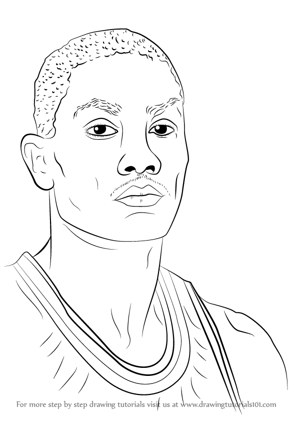 596x842 Learn How To Draw Derrick Rose (Basketball Players) Step By Step