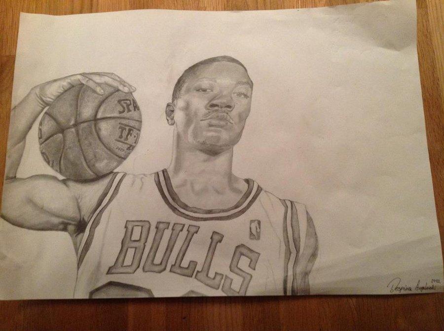 900x672 Derrick Rose Drawing By Blablaazaxoni