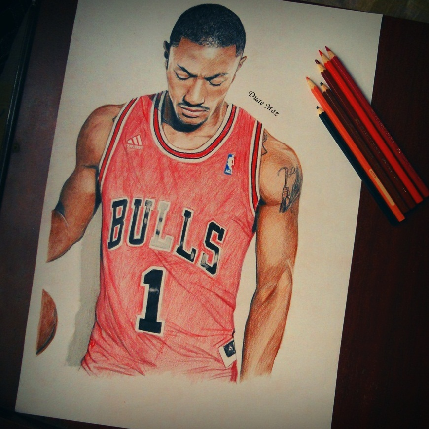 870x870 Derrick Rose Drawing By Staceyelmoro