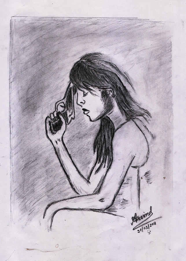 643x900 Woman' Desire Drawing By Arvind Kumar
