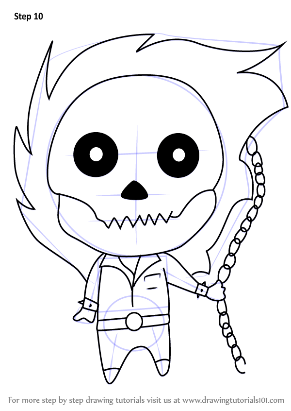 600x846 Learn How To Draw Chibi Ghost Rider (Chibi Characters) Step By