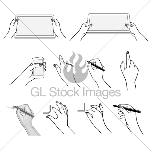 500x500 Hands Drawing Using Devices Gl Stock Images