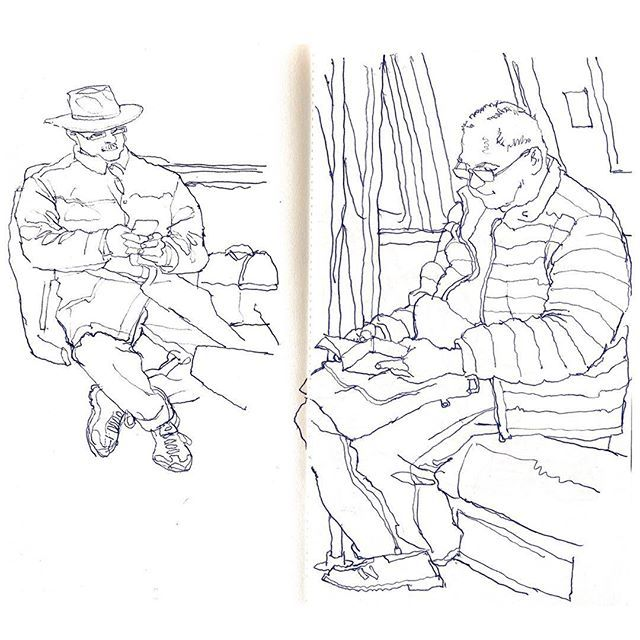 640x640 A Couple Of Commuter Sketches From The Red Line Today. Ballpoint