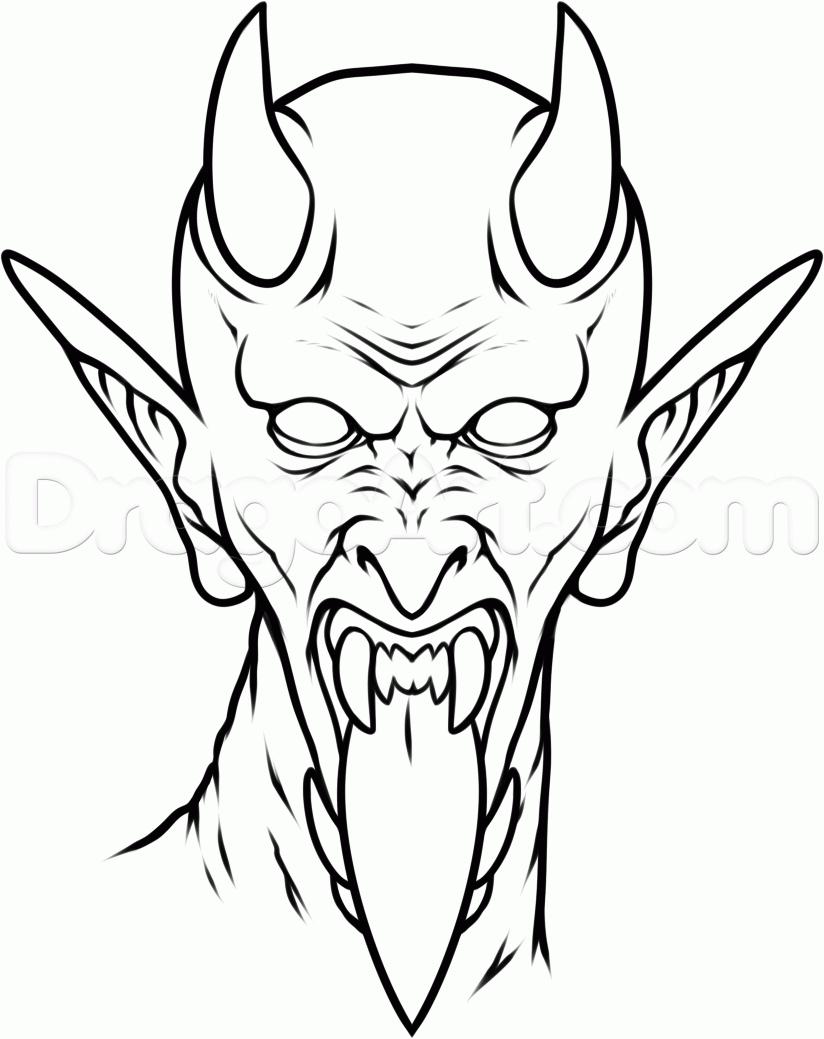 824x1039 Drawing Of The Devil Drawing Of The Devil Black Outline Devil Face
