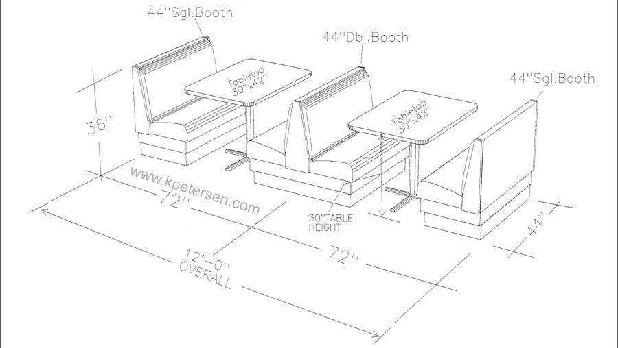 900x508 Upholstered Restaurant Booth Layouts And Typical Booth Dimensions