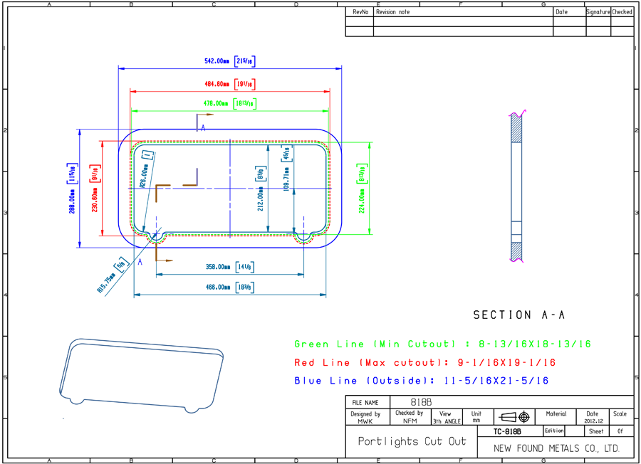 900x652 Dimension Drawing Bronze Portlight