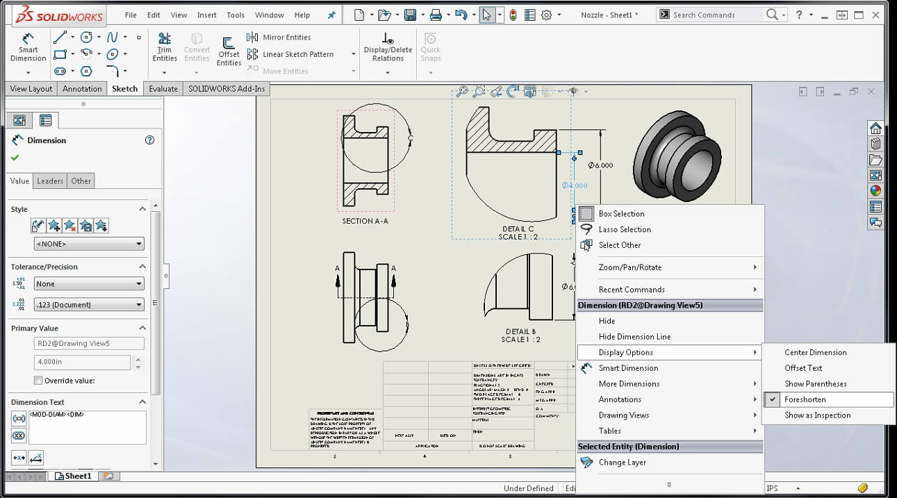 1291x717 Solidworks 2016 Foreshortened Dimensions