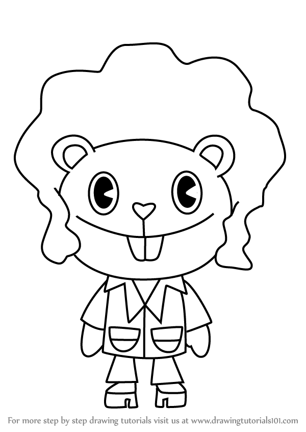 600x846 Learn How To Draw Disco Bear From Happy Tree Friends (Happy Tree