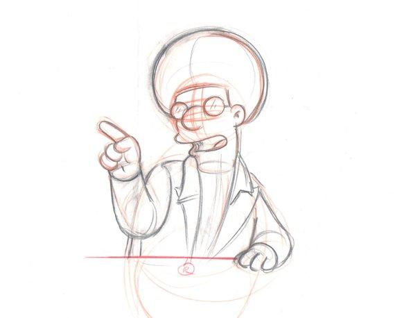 570x458 The Simpsons Disco Stu Original Animation Cell Drawing Fox