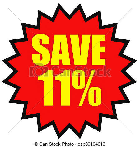 450x470 Discount 11 Percent Off. 3d Illustration On White Clipart